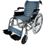 Deluxe Aluminum Wheelchair (Blue checker pattern)