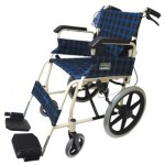 Foldable Attendant Propelled Transport Wheelchair (Blue Checker)