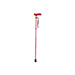 Extendable Plastic Handled Walking Stick with Engraved Pattern (Colour Red)